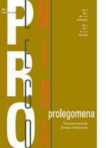 Prolegomena: Journal of Philosophy,Vol.3 No.1