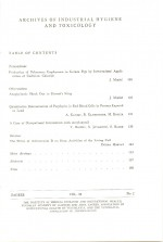 Archives of Industrial Hygiene and Toxicology,Vol. 23 No. 2
