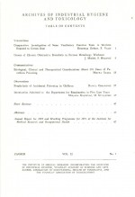 Archives of Industrial Hygiene and Toxicology,Vol. 22 No. 1