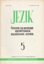 Jezik : Periodical for the Culture of the Standard Croatian Language,Vol. 34 No. 5