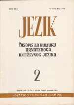Jezik : Periodical for the Culture of the Standard Croatian Language,Vol.29 No.2