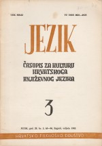 Jezik : Periodical for the Culture of the Standard Croatian Language,Vol. 29 No. 3
