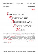 International review of the aesthetics and sociology of music,Vol. 36 No. 2
