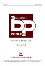 Biblijski pogledi,Vol. 10 No. 1-2