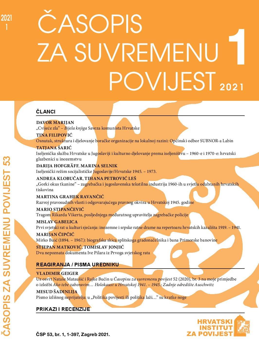 Pogledaj Svezak 53 Br. 1 (2021): Časopis za suvremenu povijest