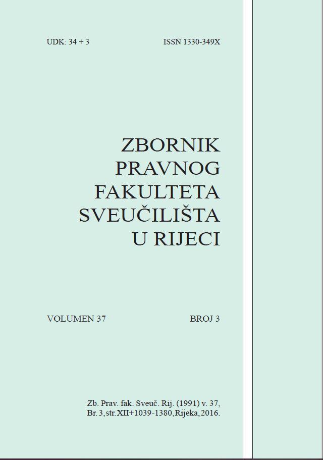 Pogledaj Svezak 37 Br. 3 (2016): Zbornik Pravnog fakulteta Sveučilišta u Rijeci